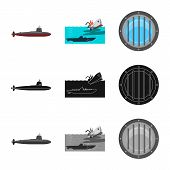 Vector Illustration Of War And Ship Symbol. Collection Of War And Fleet Stock Symbol For Web. poster