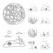 Isolated Object Of Wilderness And Texas Logo. Set Of Wilderness And Pasture Vector Icon For Stock. poster