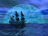 foto of raider  - Flying dutchman boat floating on the ocean in front of a very big full moon by night - JPG