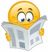 stock photo of emoticon  - Emoticon reading a newspaper - JPG