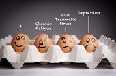 picture of fatigue  - Mental health concept in playful style with egg characters - JPG