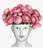 human head as an vase for flowers