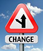 stock photo of baste  - change ahead going different direction changes and improvement making thing better for the future positive evolution improve and progress to the best road sign with text - JPG