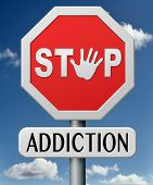stock photo of addiction  - drug abuse stop addiction of alcohol gaming internet computer drugs gamble addict get them to rehab or rehabilitation - JPG
