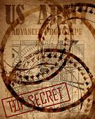 picture of top-secret  - Old top secret US army design on a vintage piece of paper - JPG