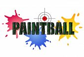 stock photo of camouflage  - Paintball logo in camouflage style with paint smears and target - JPG