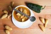 stock photo of poblano  - Bowl of Green Chile and meat stew - JPG