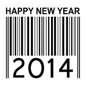 2014 new year illustration with barcode isolated on white background