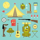 stock photo of boy scout  - Vector set of cute various camping icons - JPG