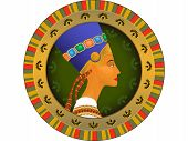 stock photo of nefertiti  - Historical tsarina of Egypt Nefertiti in a vector in a frame - JPG