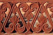 picture of balustrade  - Red sandstone balustrade detail with floral and geometric elements India - JPG