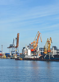 stock photo of coal barge  - Cargo crane ship freight traine and coal in port - JPG
