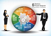 stock photo of comparison  - 6 sided business wheel chart design template for presentation purposes - JPG