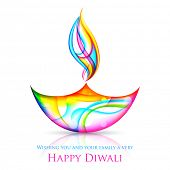 picture of ganpati  - illustration of colorful diya for Happy Diwali Holiday - JPG