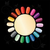 stock photo of nail salon  - Colorful nails arranged in a circle to demonstrate a variety of colors - JPG