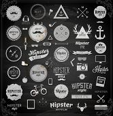 pic of mustache  - Hipster style infographics elements and icons set for retro design - JPG