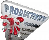 The word Productivity on a thermometer measuring your level of production, efficiency, output and ca