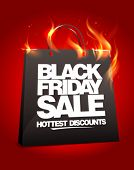 image of flames  - Fiery black friday sale design with shopping bag - JPG