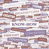 KNOW-HOW. Concept vector illustration. Word cloud with related tags and terms. Graphic tag collectio