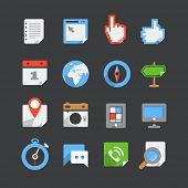 Trendy modern color web interface icons collection