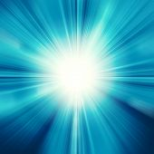 stock photo of refraction  - Sun on blue sky with lenses flare - JPG
