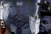 foto of drakula  - the Halloween horror dark night with skeleton - JPG