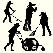 picture of grass-cutter  - Silhouette of people gardening  - JPG