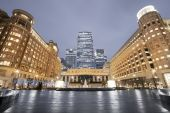 stock photo of hsbc  - Cabot Square is one of the central squares of the Canary Wharf - JPG