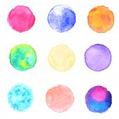 stock photo of wet  - Watercolor circles collection - JPG
