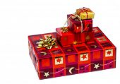 picture of superimpose  - several parcels of gifts for christmas are superimposed - JPG