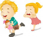 stock photo of snatch  - Illustration of a Little Girl Chasing Her Older Brother Who Ran Away with Her Doll - JPG