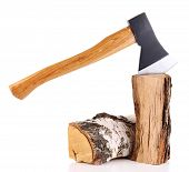 picture of ax  - Ax and firewood - JPG