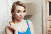 Blond Woman Teenage Girl Eating Apple Healthy Fruit. Diet.