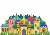 stock photo of cupola  - Multicolored Arabic city with character Islam buildings - JPG