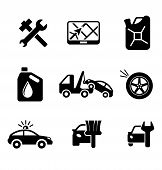 stock photo of oil can  - Set of car service and automobile icons including tools - JPG