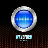stock photo of sine wave  - Silver button with blue sound wave sign on orange hex grid - JPG