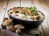 image of edible mushrooms  - risotto with cep edible mushrooms - JPG