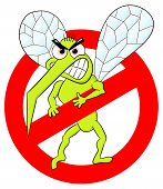 stock photo of gnats  - vector illustration of a mosquito warning sign - JPG