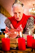 stock photo of oracle  - Female Fortuneteller or esoteric Oracle - JPG