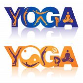 stock photo of breathing exercise  - Two colorful Words Yoga decorated with icons yoga theme - JPG