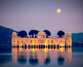 Vintage retro hipster style travel image of Rajasthan landmark - Jal Mahal (Water Palace) on Man Sag
