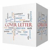 image of summary  - Cover Letter 3D cube Word Cloud Concept with great terms such as interview resume summary and more - JPG