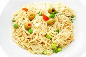 image of scallion  - Cooked Ramen Noodles with Fresh Olives and Scallions - JPG