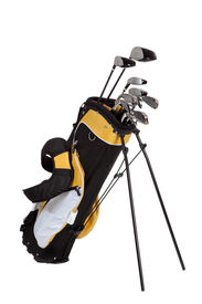 stock photo of golf bag  - golf clubs and bag on a white background - JPG