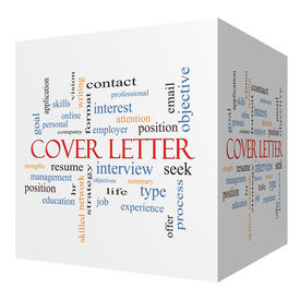 stock photo of summary  - Cover Letter 3D cube Word Cloud Concept with great terms such as interview resume summary and more - JPG