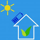 picture of solar battery  - Eco house with solar battery as idea of eco - JPG