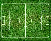 stock photo of offside  - soccer field with white lines - JPG