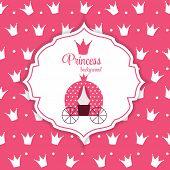 foto of princess crown  - Pink Princess Crown  Background Vector Illustration - JPG
