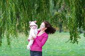 foto of weeping willow tree  - Mother And Daughter Standing Under A Colorful Willow Tree On A Windy Day - JPG