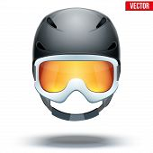 pic of snowboarding  - Front view of Classic black Ski helmet and white snowboard goggles with orange glass - JPG